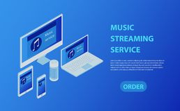 Music industry isometric poster with streaming service symbols vector illustration. Multi devices music streaming laptop, smarphone, tablet royalty free illustration