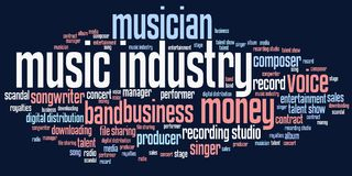 Music industry. Issues and concepts word cloud illustration. Word collage concept stock illustration