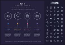 Music infographic template, elements and icons. Music options infographic template, elements and icons. Infograph includes line icon set with musical Royalty Free Stock Photo