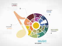 Music. Infographic template with record tune made out of puzzle pieces Stock Photos