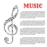 Music infographic template with treble clef Royalty Free Stock Photos