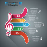Music Infographic. Treble clef icon. Note icon. Stock Photo