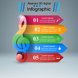 Music Infographic. Treble clef icon. Note icon. Stock Image