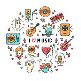 Music infographics line art icons, inspiring quote Royalty Free Stock Photo