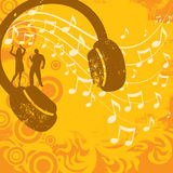Music Insignia. Silhouette couple dancing on a headphone in front of swirl of music notes with various design elements over a textured background Royalty Free Stock Photography