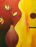 Music instrument. Original oil painting of the bass