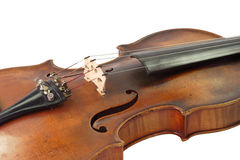 Music instrument. Old violine isolated on white background royalty free stock photos