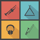 Music Instrument. Abstract music instrument silhouettes on a special background Stock Photo