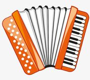 Public instrument accordeon. Music instrument accordeon on white background is insulated Stock Image