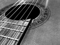 Music instrument acoustic guitar strings. Music instrument guitar strings black and white Royalty Free Stock Images