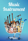 Music instrument with electric acoustic guitar bass drum snare violin ukulele saxophone keyboard microphone and headphone on a sho Royalty Free Stock Images