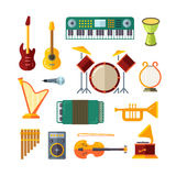 Music instrument flat vector icons Royalty Free Stock Photography