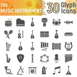 Music instrument glyph icon set, musical symbols collection, vector sketches, logo illustrations, sound signs vector illustration