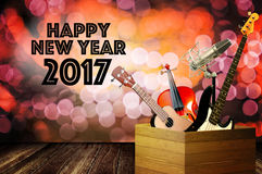 Music instrument with happy new year greeting word Royalty Free Stock Photography