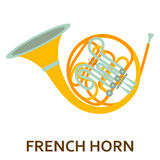 Music instrument icon. French horn. Vector flat illustration Stock Image