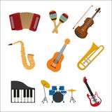 Music instrument icon set. vector graphic. Music instrument concept represented by icon set over flat and isolated background Stock Image