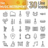 Music instrument line icon set, musical symbols collection, vector sketches, logo illustrations, sound signs stock illustration