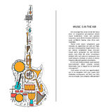 Music instrument line icons in electric guitar shape. Art musical brochure element. Vector decorative greeting card or Stock Image