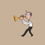 Music instrument man blowing trumpet Royalty Free Stock Photo