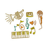music instrument with notes musicals icon Royalty Free Stock Images