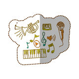 music instrument with notes musicals icon Stock Images
