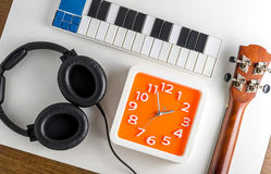 Music instrument practice time. Music production time. Stock Images