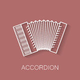 Music instrument retro line icon. Accordion shape. Classic musical object. Vector decorative design background. Magazine. Cover. Marketing concept Royalty Free Stock Images