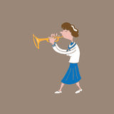 Music instrument school girl trumpet Royalty Free Stock Photo