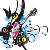 Music instrument series. Music instrument background, vector illustration of an electric guitar with grunge details. EPS file available Stock Image