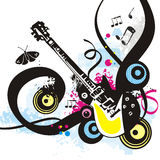 Music instrument series. Music instrument background, vector illustration of a electric guitar with grunge details. EPS file available Stock Photography