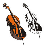 Music instrument series. Vector illustration of a violоncello, in color and black and white renderings Royalty Free Stock Photo