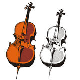 Music instrument series. Vector illustration of a violоncello, in color and black and white renderings Stock Photo