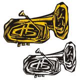 Music instrument series. Vector illustration of a cornet, in color and black and white renderings Royalty Free Stock Image