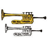 Music instrument series. Vector illustration of a cornet, in color and black and white renderings Stock Images
