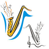 Music instrument series. Vector illustration of a saxophone, in color and black and white renderings Stock Images