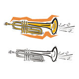 Music instrument series. Vector illustration of a cornet, in color and black and white renderings Stock Image