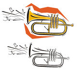 Music instrument series. Vector illustration of a cornet, in color and black and white renderings Stock Photos