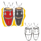 Music instrument series. Vector illustration of bongos, in color and black and white renderings Royalty Free Stock Image