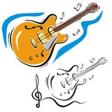 Music instrument series. Vector illustration of an electric guitar, in color and black and white renderings Stock Image