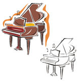 Music instrument series. Vector illustration of a piano, in color and black and white renderings Stock Images
