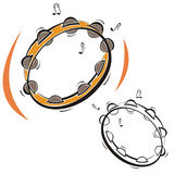 Music instrument series. Vector illustration of a tambourine, in color and black and white renderings Stock Photo