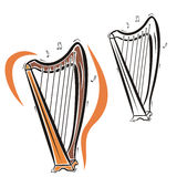 Music instrument series. Vector illustration of an harp, in color and black and white renderings Stock Photo