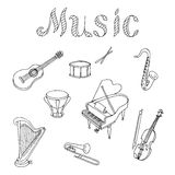 Music instrument set graphic art black white isolated illustration Stock Image
