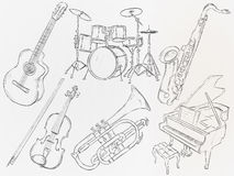 Music Instrument Sketch Vector Pack Stock Photos
