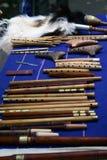 Music instruments. Romanian music instruments: flute, cimpoi, panpippe Stock Image