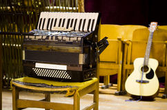 Music instruments. Quitar and accordion stock photos