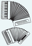 Music instruments. Accordion. Isolated on blue background Stock Images