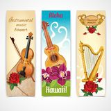 Music instruments banners stock illustration