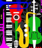 Music instruments on black Royalty Free Stock Images