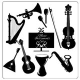 Music instruments black Stock Photo